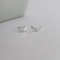 Celestial Studs, Crescent Moon and Star Sterling Silver Earrings, Mismatch Studs