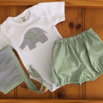 Baby boys outfit, bloomers , bonnet and bodysuit outfit,baby boys set, handmade