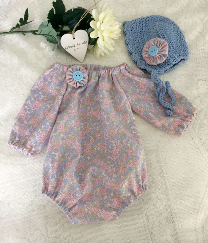 fa9cc7f9af7eb Long sleeve romper and crocheted bonnet, handmade baby girl outfit,pretty  floral | Tiny Townships | madeit.com.au