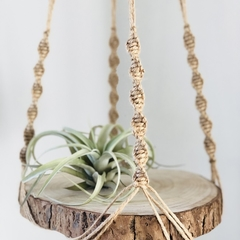 Plant hanger, macrame, jute with natural wood slice and beads.