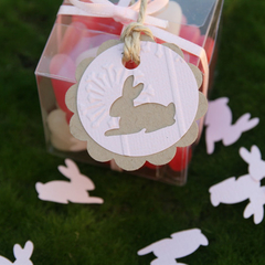 12 Bunny Rabbit  Tags ~ Pink Bunny Tags ~ Baby Showers ~ Easter Gift Tags