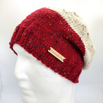 Red and beige women knit wool beanie