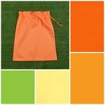 Medium cotton drawstring bag, orange//lemon/apple for storage, toys, library