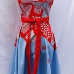 Halterneck Dress Red and Blue. Yarrabah Art Fabric Size 10 (S)