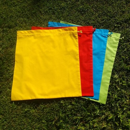 Set of 4 large cotton drawstring bags,  primary colours, storage, toys, library