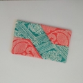 Travel Tissue Pouch - Coral/Jade Floral/Geometric - Accessory - Practical Gift