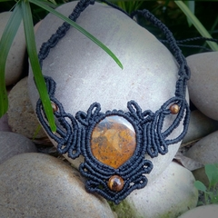 """Iona"" -Tigers Iron with Tigers Eye Macramé Necklace 