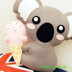 Koala Plush / Koala Softie / Koala Toy / Ice Cream /  100% Wool Felt Toy