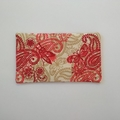 Travel Tissue Pouch - Maroon/Beige - Floral/Paisley/Butterfly - Practical Gift