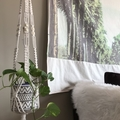 Beaded macrame plant hanger, off white cotton cord med-large size. Timber beads