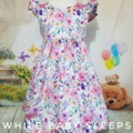 Girls Watercolour Floral Party Dress Elastic Tie Back - Available Sizes 4, 5