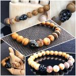 Swarovski Crystal Skull Bracelet with Woodgrain Jasper & Tibetan Dzi Beads