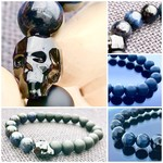 Swarovski Crystal Skull Bracelet with Dark Blue Tiger Eye & Matte Black Agate