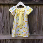 Girls dress , sunshine yellow  , pretty seaside dress.  short sleeve dress .bow