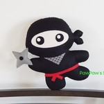 Ninja Plush / Ninja Softie / Ninja Toy / 100% Wool Felt Toy