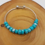 Bangle, turquoise and silver beads, stainless steel silver bangle