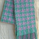 Woman's Long Scarf, Pure Wool, Hand Woven, Lilac / Aqua