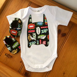 Cute super hero mask appliqued bodysuit  and matching booties , baby boy outfit