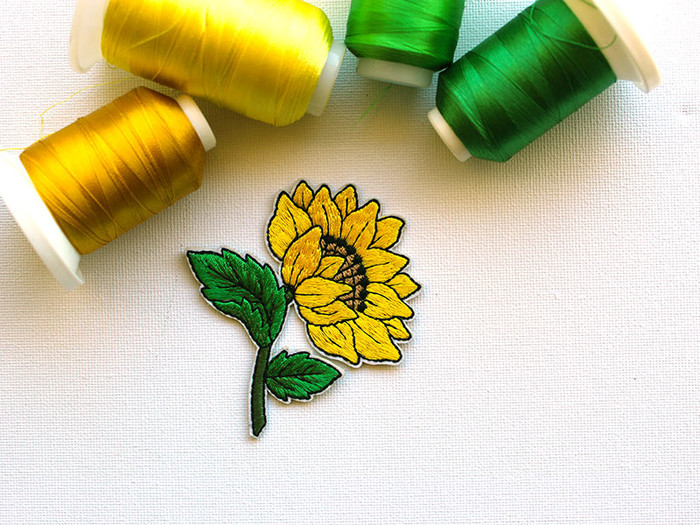 Sunflower Embroidered and Iron On Patch | PatchHaven on Madeit