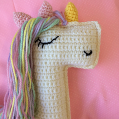 Crocheted unicorn , handmade baby soft toy. New baby gift idea.cute crocheted gi