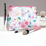 Watercolour Pastel pink floral roses Makeup bag, Cosmetic bag, Mums gift.
