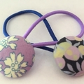 Mixed 23mm Purple Liberty fabric button hairties