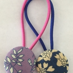 23mm blue and purple liberty fabric button hairties