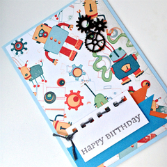 Birthday Card, Kids - Boyish Retro Robots