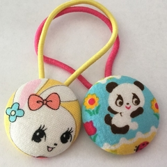Mixed 28mm vintage style fabric button hairties