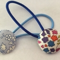 23mm blue liberty fabric button hairties