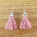 Tassel earrings, Large pink tassels, Sterling silver ear hooks