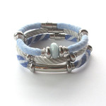 Aquamarine Collection Set of three bracelets Recycled linen fabric jewellery