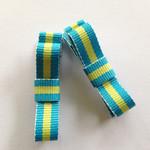 Blue / lime stripe alligator hair clip