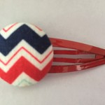Red Blue Chevron fabric hairclip