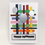 Birthday Card - Colourful Stripes, Silver Balloons