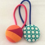 Mixed 23mm bright fabric button hairties
