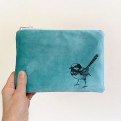 Screen printed fairy wren pouch / clutch / purse / wallet - blue velvet