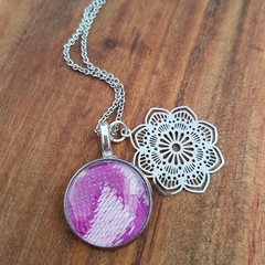 Pink flower pendant - Ankalia Pinkle wrap scrap