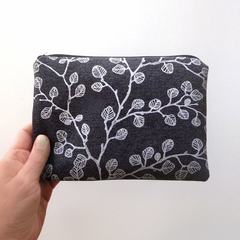 Screen printed nothofagus gunnii pouch / clutch / purse - white on charcoal