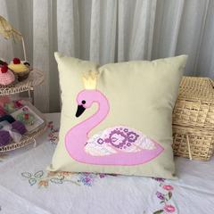 Swan pillow, appliqued handmade cushion cover. Pretty swan, kids room decor. Gir