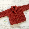 Rust Chunky Hand Crocheted Baby Cardigan 3-6 months