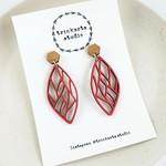 Chilli Red Geo Leaf Stud Dangle Statement Earrings - Lasercut Wood Earrings