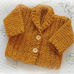 Mustard Hand Crocheted Baby Cardigan 0-2 months