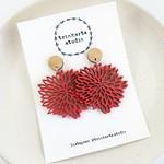Chilli Red Chrysanthemum Stud Dangle Statement Earrings - Lasercut Wood Earrings