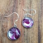 Purple marble earrings