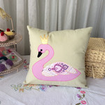 Swan pillow, appliqued handmade cushion cover. Pretty swan, kids room decor. Gir