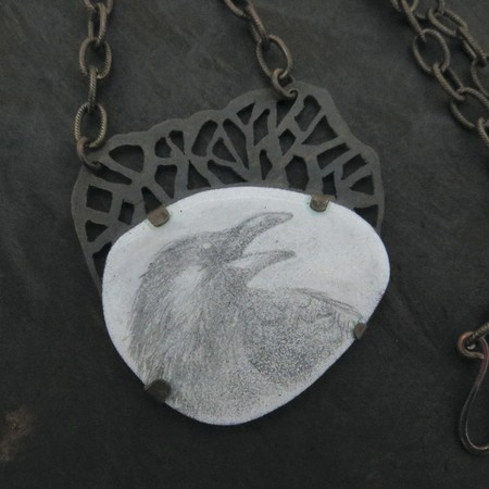Winter Raven, rustic copper necklace with hand drawn raven in vitreous enamel