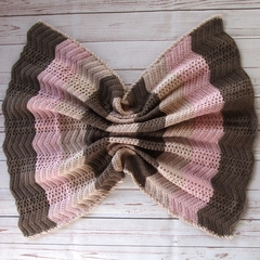 Crochet baby blanket | brown pink beige | baby shower gift, travel rug, keepsake