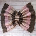 Crochet baby blanket   brown pink beige   baby shower gift, travel rug, keepsake