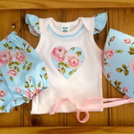 Baby Girl Outfit , handmade bloomers and  bonnet and bodysuit set, baby shower g